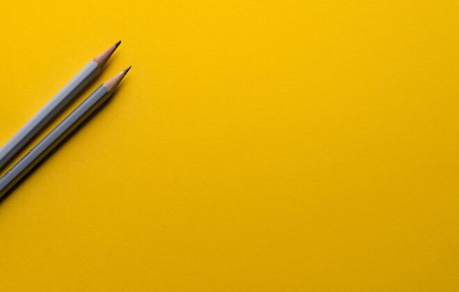 Pencils With Yellow Background For Writing